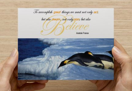 Believe Penguin quote postcard